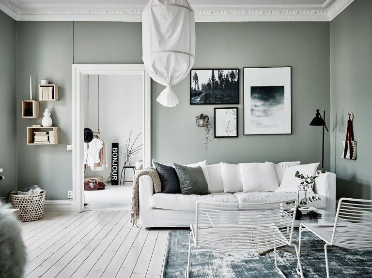 A sage green and grey home