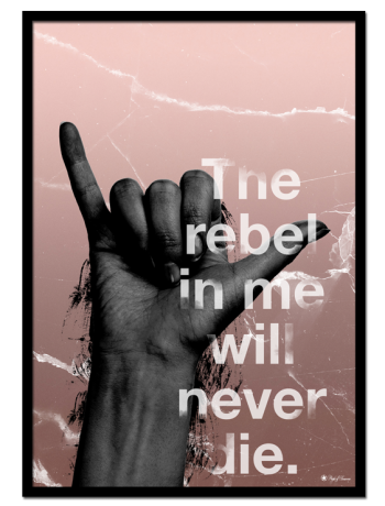 "The Rebel in Me poster | An edgy art print with typography. This poster matches perfectly with ""Rebel"", ""Killing It"", or any black and white print."