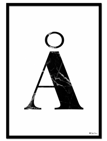 AA - Marble Letter poster | Minimalistic typography poster with black marble texture