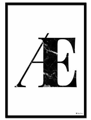 Æ - Marble Letter poster | Minimalistic typography poster with black marble texture.