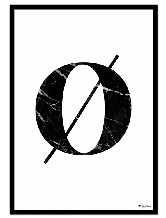 Ø - Marble Letter poster | Minimalistic typography poster with black marble texture.