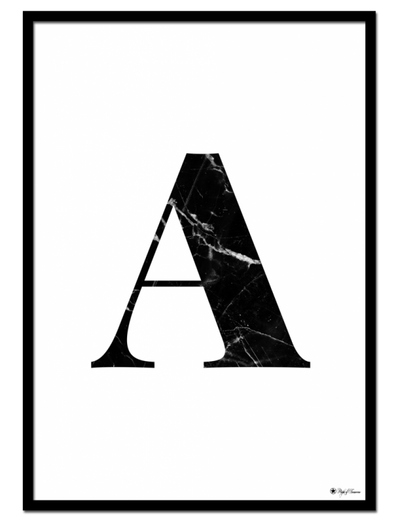 A - Marble Letter poster | Minimalistic typography poster with black marble texture.