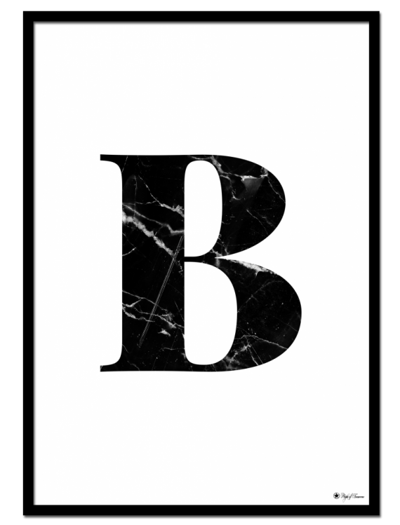 B - Marble Letter poster | Minimalistic typography poster with black marble texture.