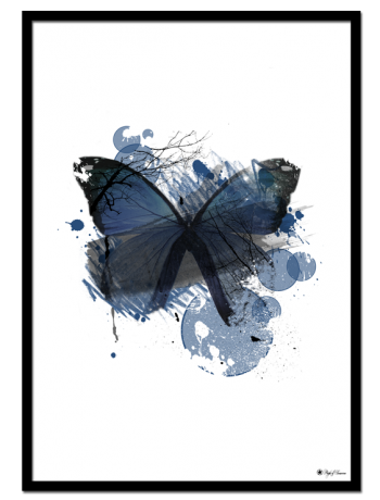 "Blue Butterfly poster | Artistic art print of a blue butterfly. Matches perfectly with ""Lust"" and ""Blue Mood""."