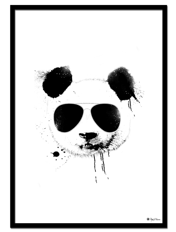 Cool Panda poster | Creative art print of a panda with sunglasses and ink splatter effects
