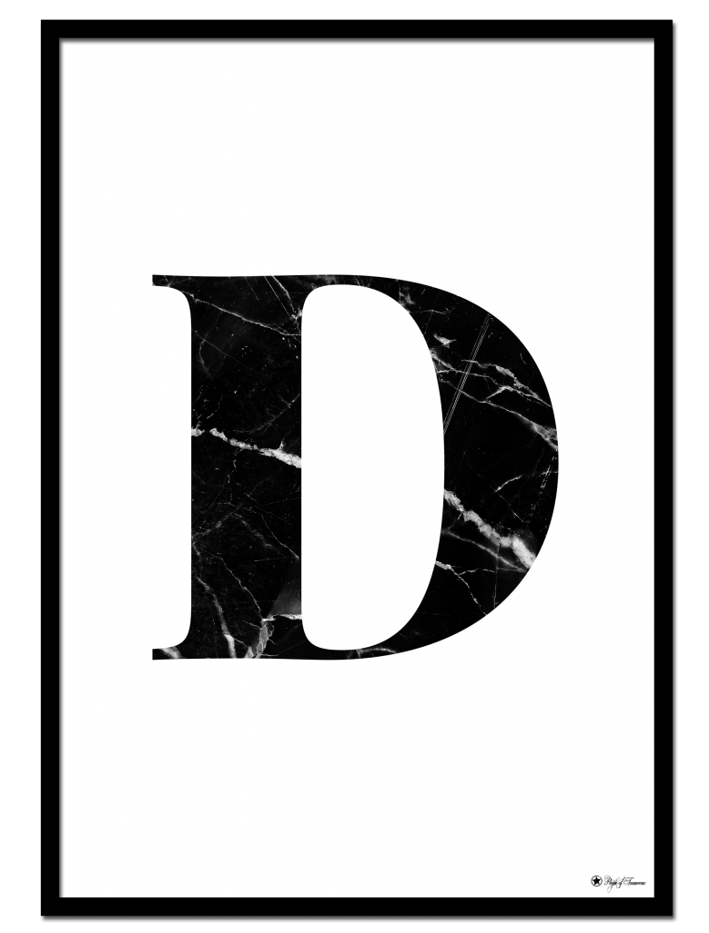 D Marble Letter Poster 6 Sizes Poster Wall Art