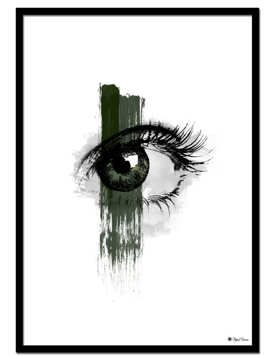 "EYE See You poster | Drawing of a green eye with brush art element. Combine with ""Green Marble"" for the perfect gallery look."
