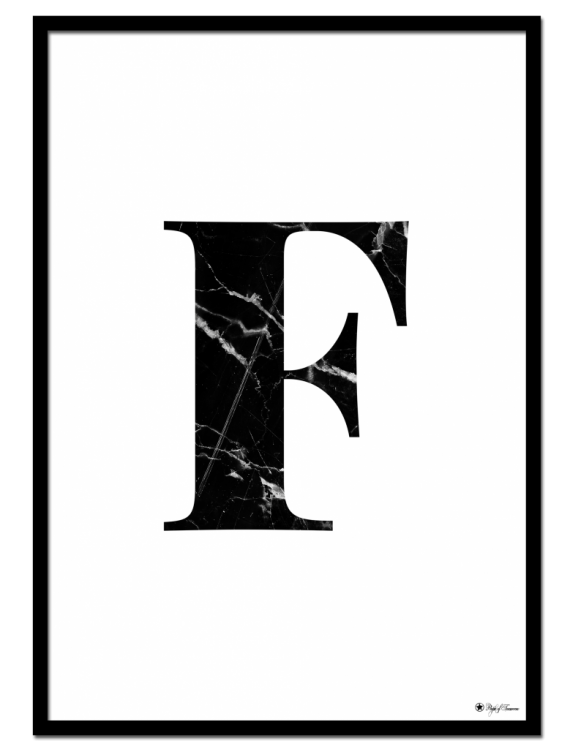 F - Marble Letter poster | Minimalistic typography poster with black marble texture.