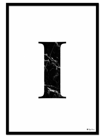 I - Marble Letter poster | Minimalistic typography poster with black marble texture.