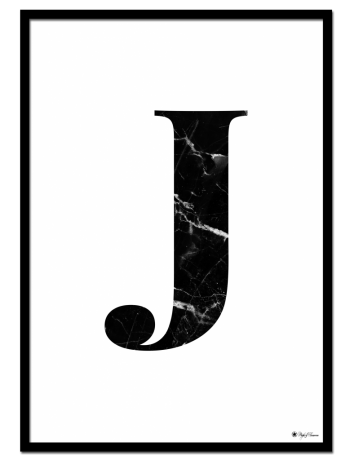 J - Marble Letter poster | Minimalistic typography poster with black marble texture.