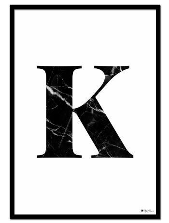 K - Marble Letter poster | Minimalistic typography poster with black marble texture.