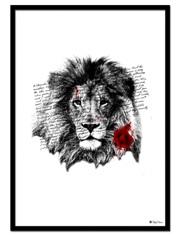 Lion Rose poster | Artistic print of a lion holding a red rose