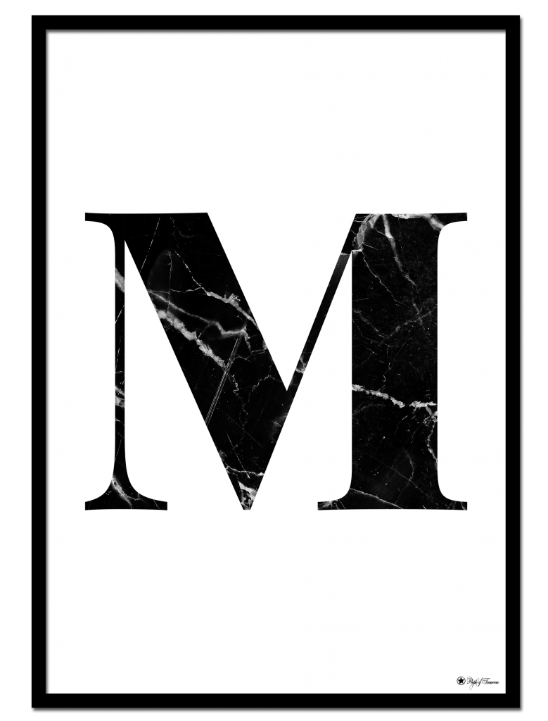 M marble letter poster minimalistic typography poster with black marble texture