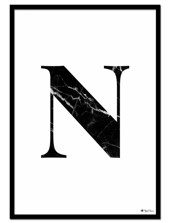 N - Marble Letter poster | Minimalistic typography poster with black marble texture.