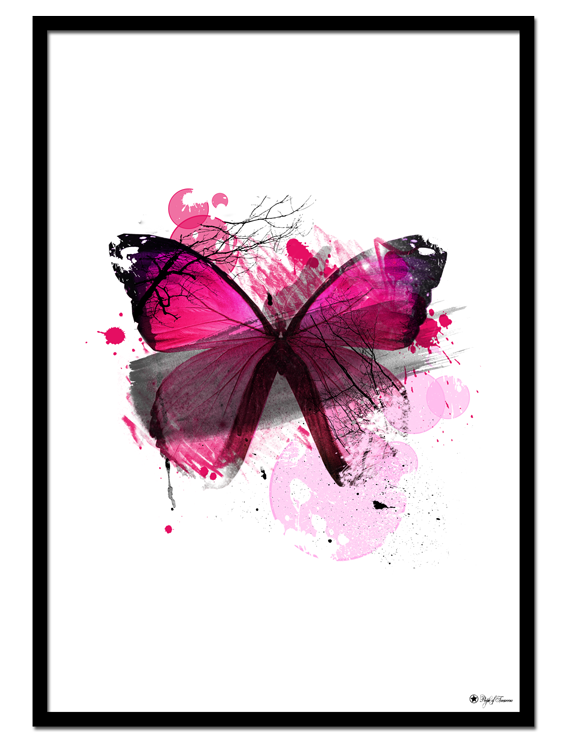 "Pink Butterfly poster | Artistic print of a pink butterfly. Matches perfectly with ""Colorful Mess"" and ""Pink Iris""."