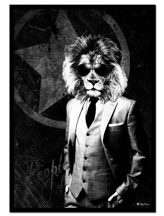 Suit Up poster | Masculine, artistic print of a lion in a suit with sunglasses.