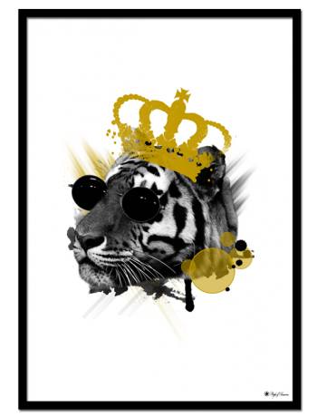 The King poster | Artistic print of a tiger with a yellow crown and black sunglasses.