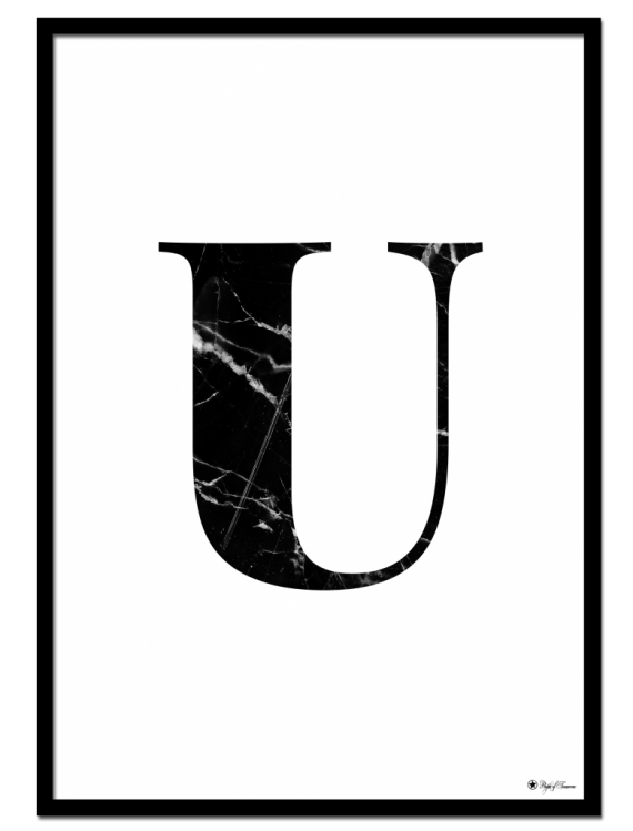 U - Marble Letter poster   Minimalistic typography poster with black marble texture.