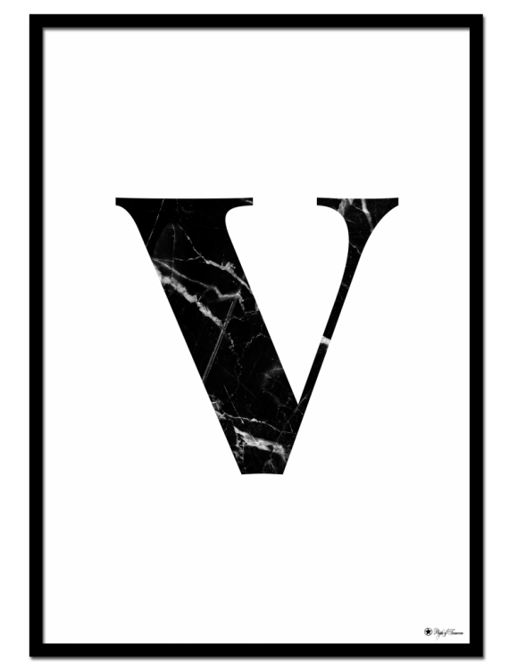 V - Marble Letter poster | Minimalistic typography poster with black marble texture.