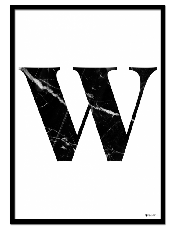 W - Marble Letter poster | Minimalistic typography poster with black marble texture.