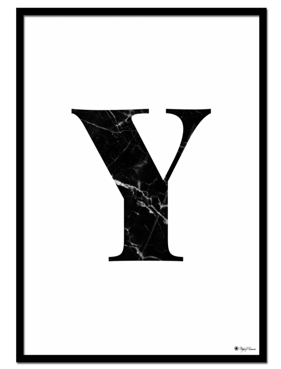 Y - Marble Letter poster |  Minimalistic typography poster with black marble texture.