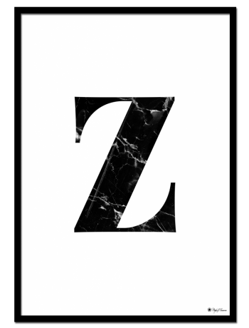 Z - Marble Letter poster | Minimalistic typography poster with black marble texture.