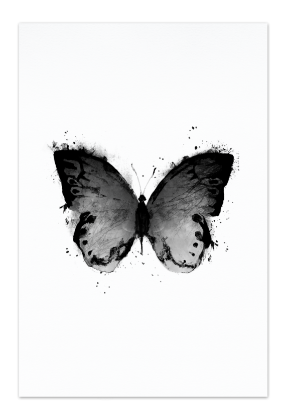 Black Butterfly Art Card | Art doesn't have to be big to make a big impression. Our art cards are about the size of postcards, but they'll brighten up any room with their eye-catching designs. With a selection of unique art work printed on high quality paper, these are a versatile type of art for all sorts of occasions.