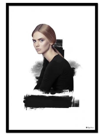 Black Harmony poster | Artistic print of a pretty woman with black brush elements.