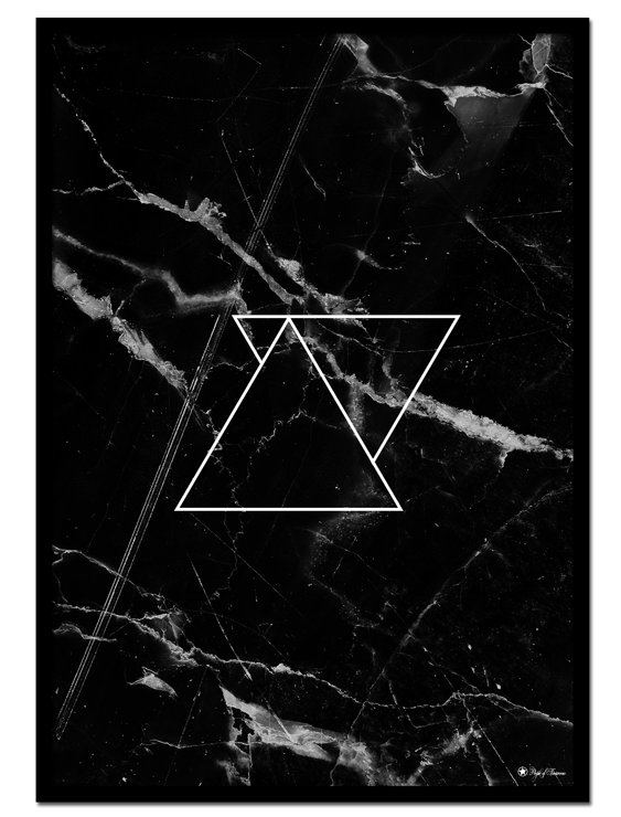 Black Marble poster |Poster with black marble and triangles.