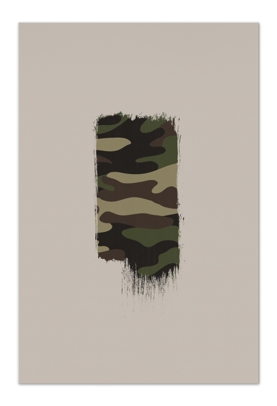 Camo Brush Art Card | Art doesn't have to be big to make a big impression. Our art cards are about the size of postcards, but they'll brighten up any room with their eye-catching designs. With a selection of unique art work printed on high quality paper, these are a versatile type of art for all sorts of occasions.