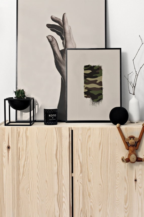 Camo Brush poster | Brush element with camouflage texture on beige background.