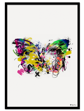 "Colorful Mess poster | Artistic, colorful art print of a butterfly, that matches perfectly with ""Pink Iris"" art print."