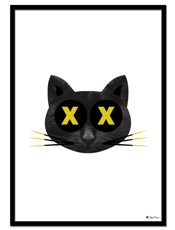 Crazy Cat poster | Humorous art print of a cat in black and yellow colors.