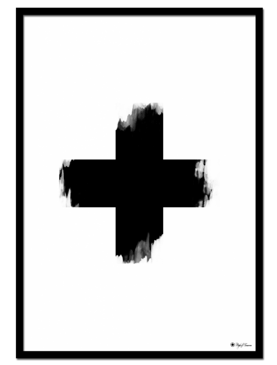 Cross poster | Minimalistic art print of a cross with brush art elements.