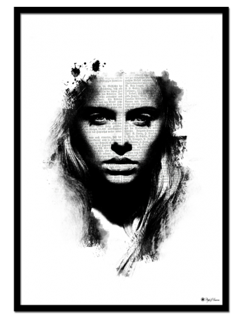 Do You Read Me poster | Black and white art print of a female face and typographic elements.