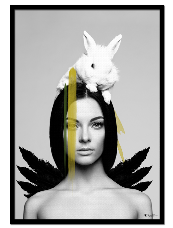 "Ebony & Ivory poster | Art print of woman with wings and a bunny on her head. Match with ""Yellow Mohawk"", ""Yellow Butterfly"", ""Hustle"" or other yellow prints."