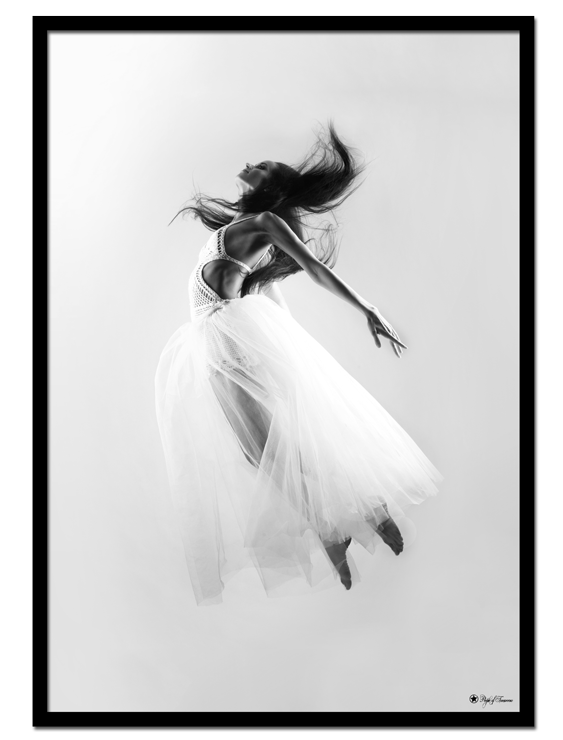 Fly Away poster | Photo poster in black and white of a floating woman.