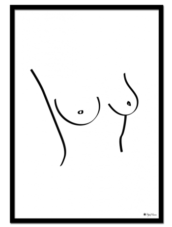 "Front poster | Line art drawing of female body. Matches perfectly with the ""Back"" print."