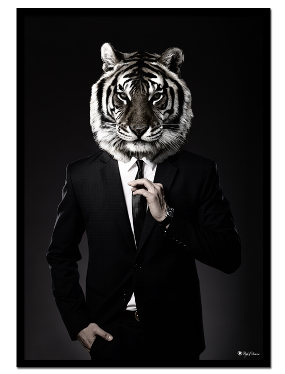 "Gentleman poster | Masculine art print of a tiger in suit. Match with ""This is Me"" for the perfect look and contrast!"