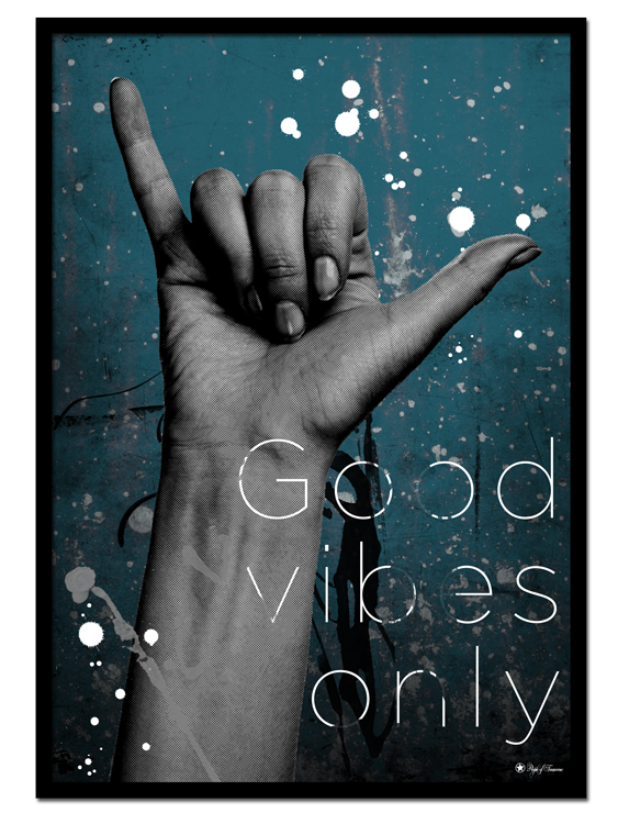 "Good Vibes Only poster | Artistic art print of hand gesture on teal colored background. Match with ""Surf"" for the perfect gallery wall."