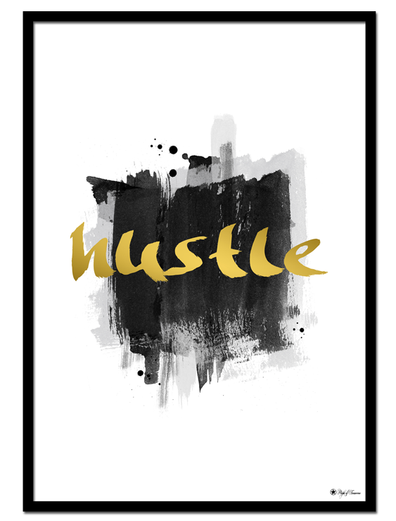 Hustle poster | Typography print with brush art that will be perfect wall art for the office!
