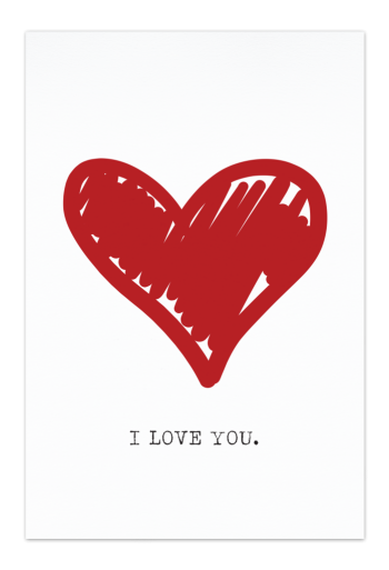 I Love You Art Card | Art doesn't have to be big to make a big impression. Our art cards are about the size of postcards, but they'll brighten up any room with their eye-catching designs. With a selection of unique art work printed on high quality paper, these are a versatile type of art for all sorts of occasions.