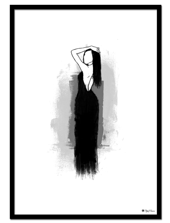 Lady in Black poster | Drawing of a woman in black dress.