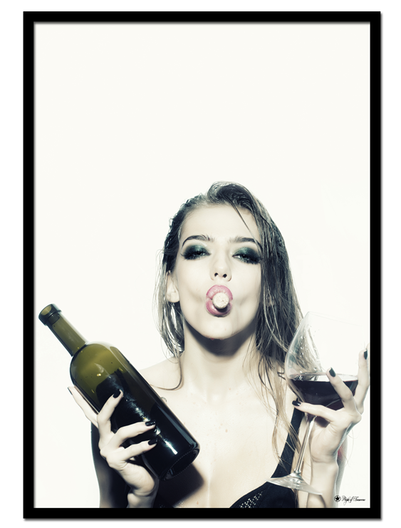 Let's Get Drunk poster | This poster of woman with wine bottle and glass is one of our popular photo art prints.