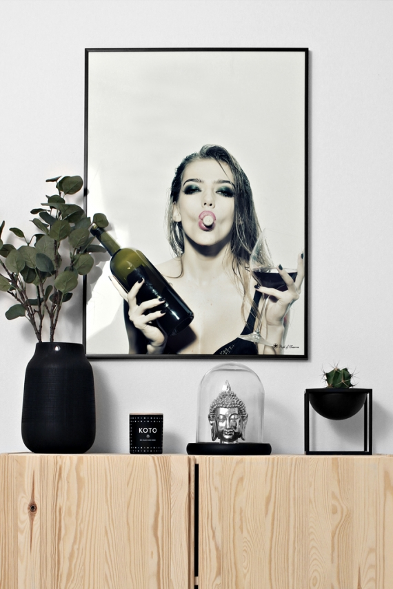 Let's Get Drunk poster | Photo poster of woman with wine bottle and glass.