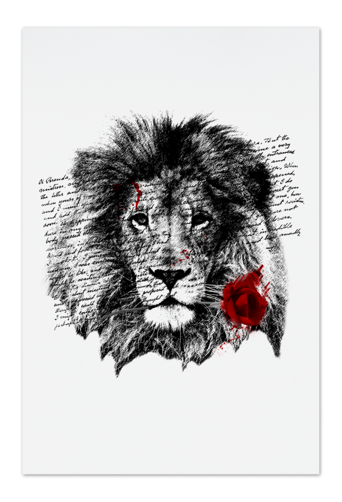 Lion Rose Art Card 10x15 Fine Art Cards People Of