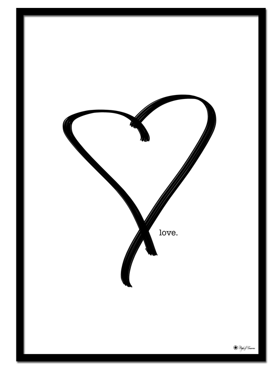 "Love poster | Line art drawing of a hear with the text ""Love""."