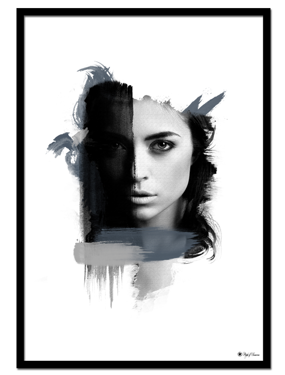 Lust poster | Artistic art print of a woman's face with blue and grey color.