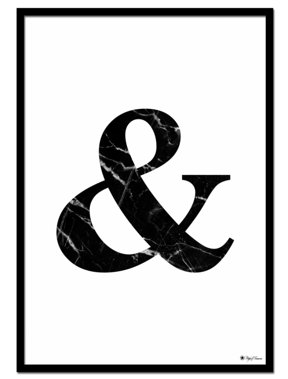 & - Marble Letter poster | Minimalistic typography poster with black marble texture.