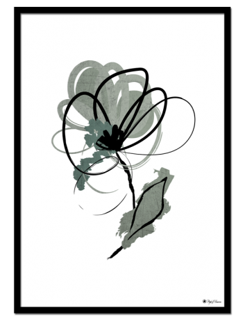 Minty Flower poster | Artistic drawing of a mint green and black flower.